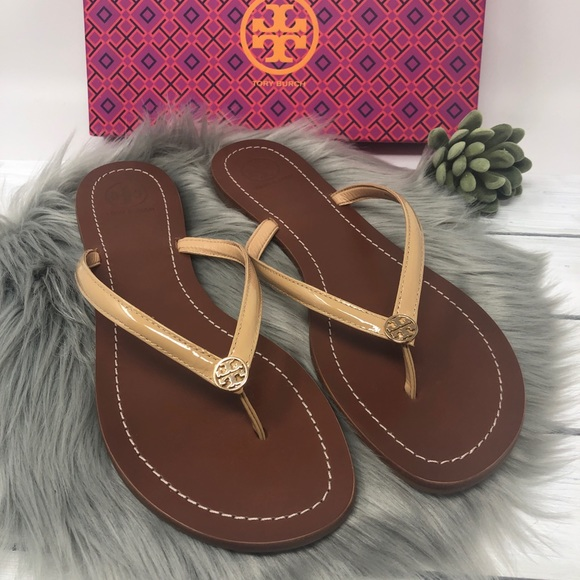668130933eb8 NIB Tory Burch Terra Thong Sandals 11 Sun Beige